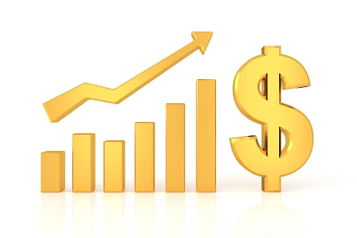 istock Successful graph with dollar sign. 3D rendering. 881430298