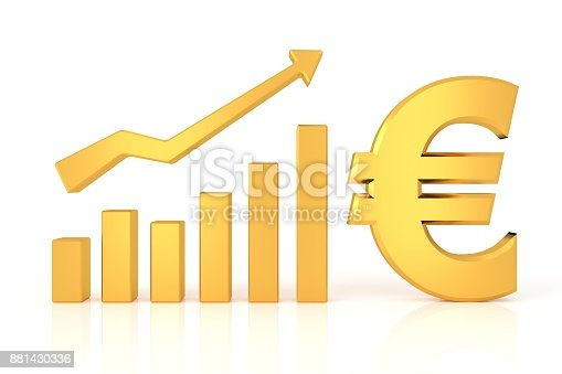 istock Successful graph with euro sign. 3D rendering. 881430336