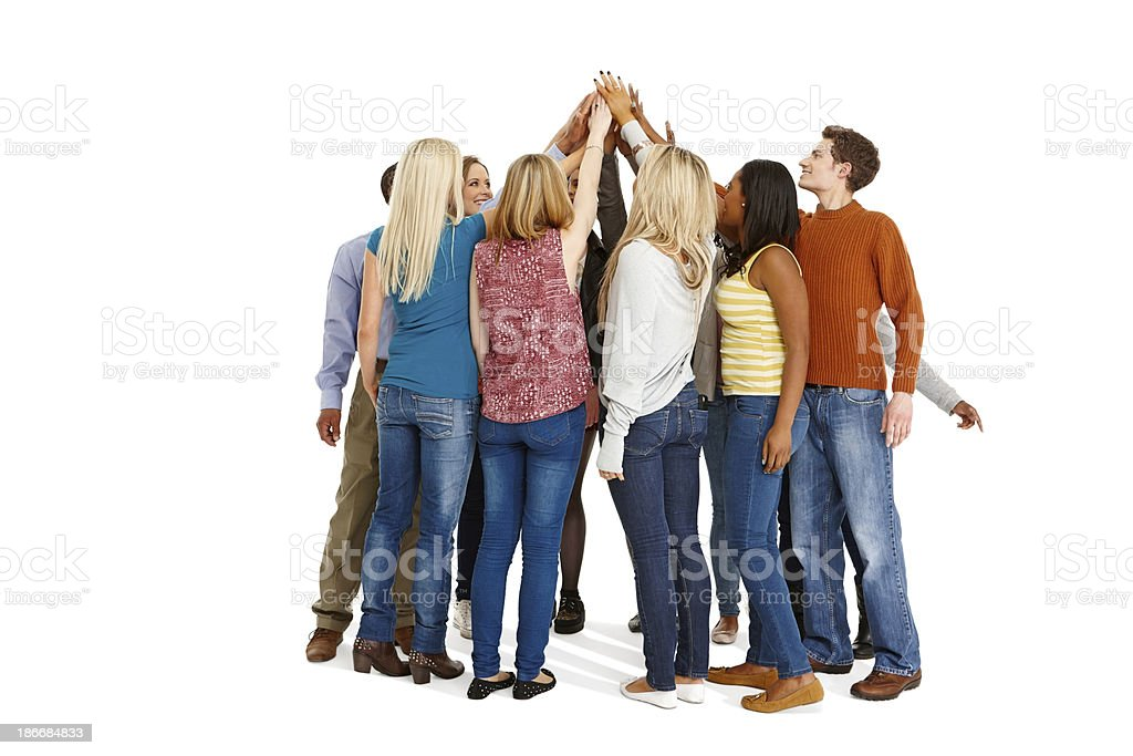 Successful group of people joining hands royalty-free stock photo