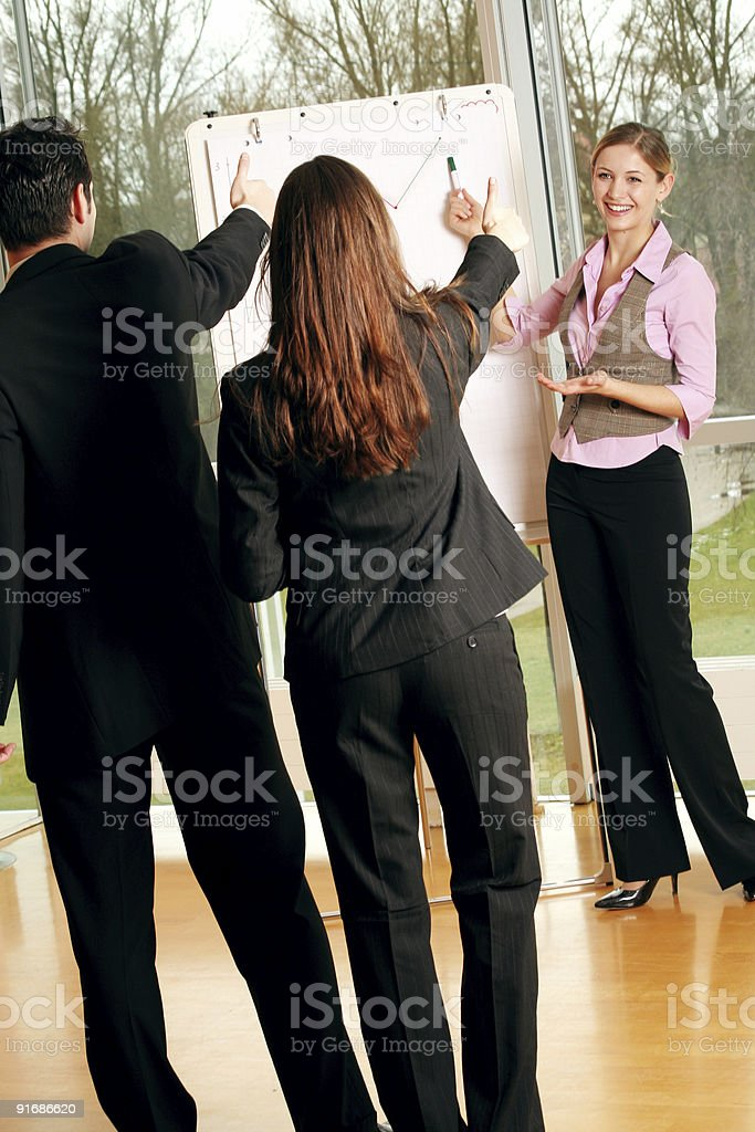 successful happy business team is working on a chart royalty-free stock photo