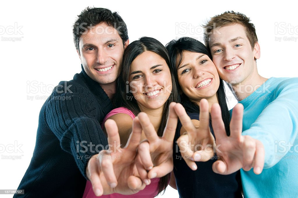 Successful happy group of friends royalty-free stock photo