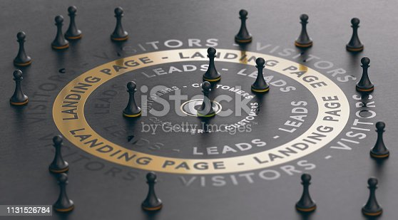 3d illustration of an inbound marketing concept with pawns around a golden landing page over black background. Modern design.