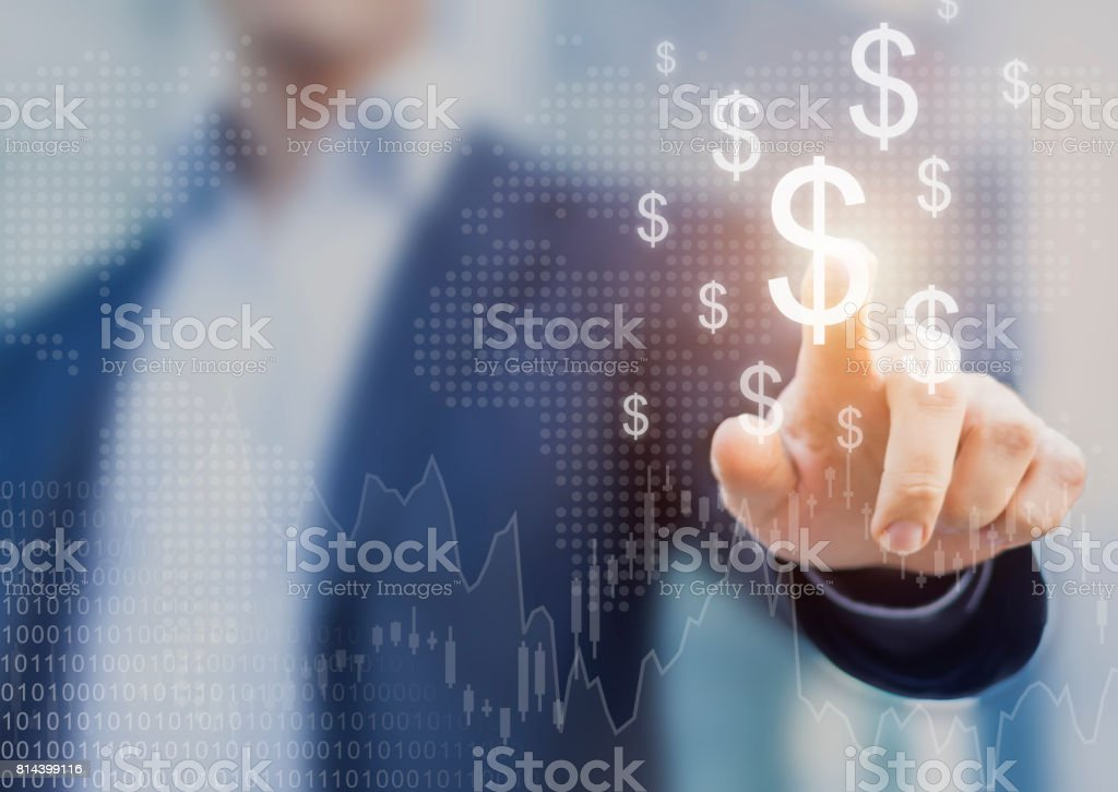Successful international financial investment concept, businessman, growth, charts, dollar sign stock photo