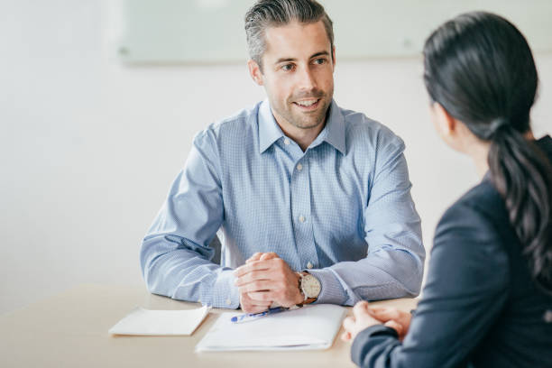 Successful job interview stock photo