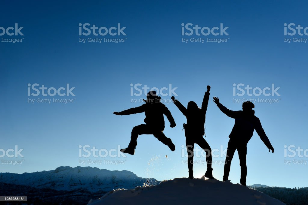 successful, joyful, happy mountaineers stock photo