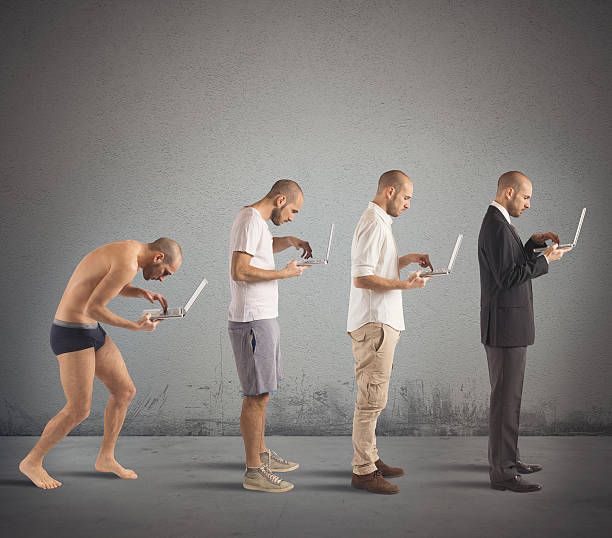 Successful man evolution Evolution from hunched man to successful man bad posture stock pictures, royalty-free photos & images