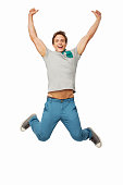 istock Successful Man Jumping Against White Background 534201332