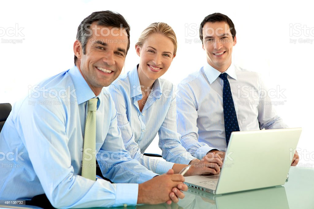 Successful Managers work together stock photo