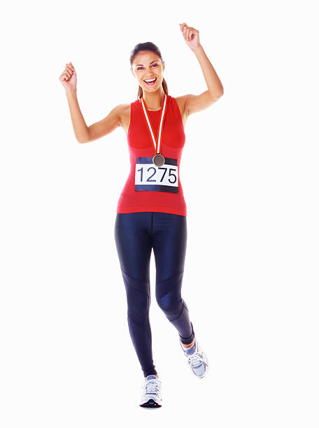 Successful Marathon runner stock photo