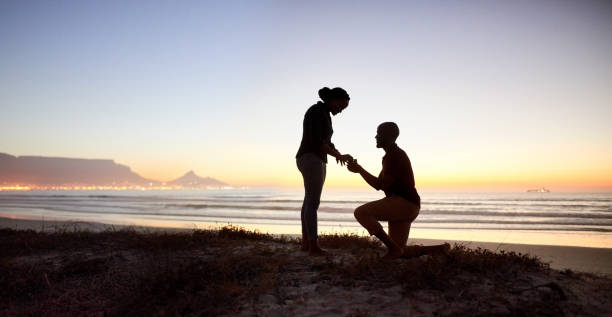 Successful marriage proposal stock photo