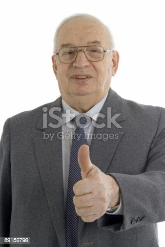 istock Successful mature businessman with thumb up 89156796