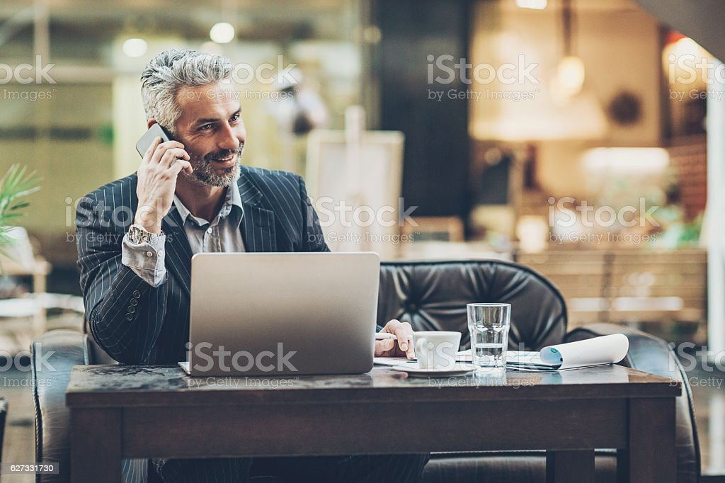 Successful middle age businessman stock photo