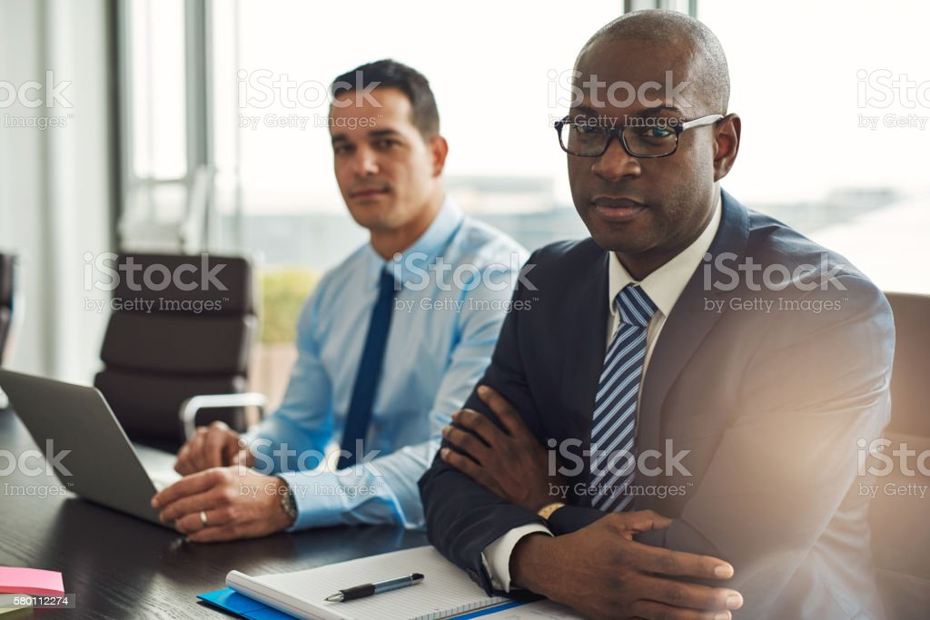 Successful multiracial business partners stock photo