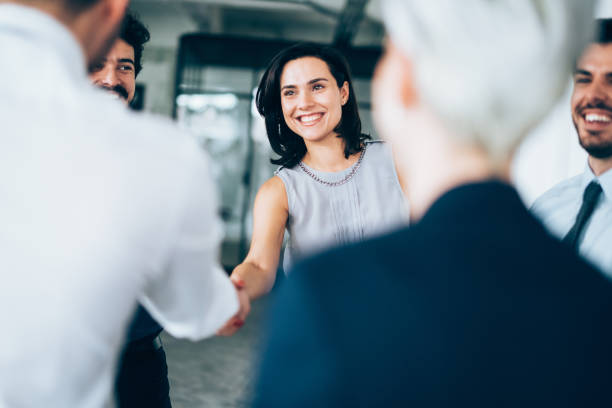 Successful partnership Business people shaking hands happy boss stock pictures, royalty-free photos & images