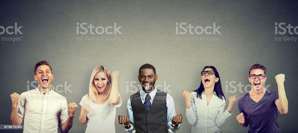 Successful people men and women are celebrating a victory stock photo