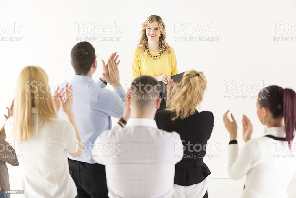 Successful Presentation in front of coworkers royalty-free stock photo