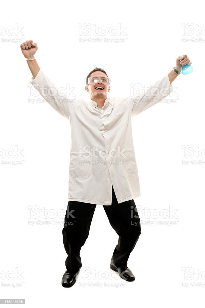 Successful scientist with vial, isolated on white royalty-free stock photo