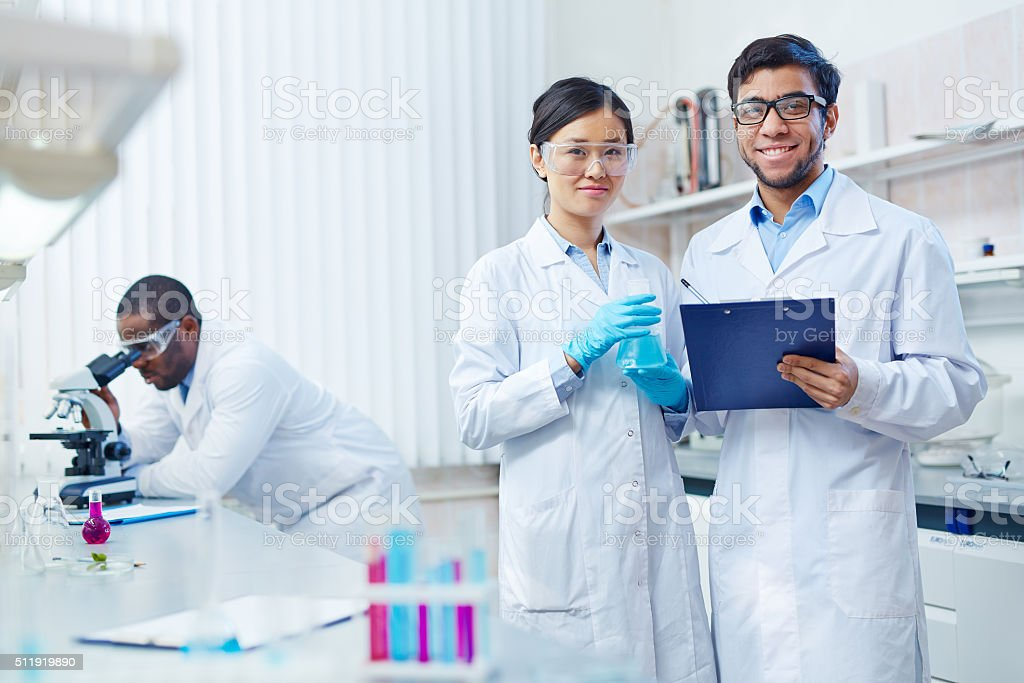Successful scientists stock photo