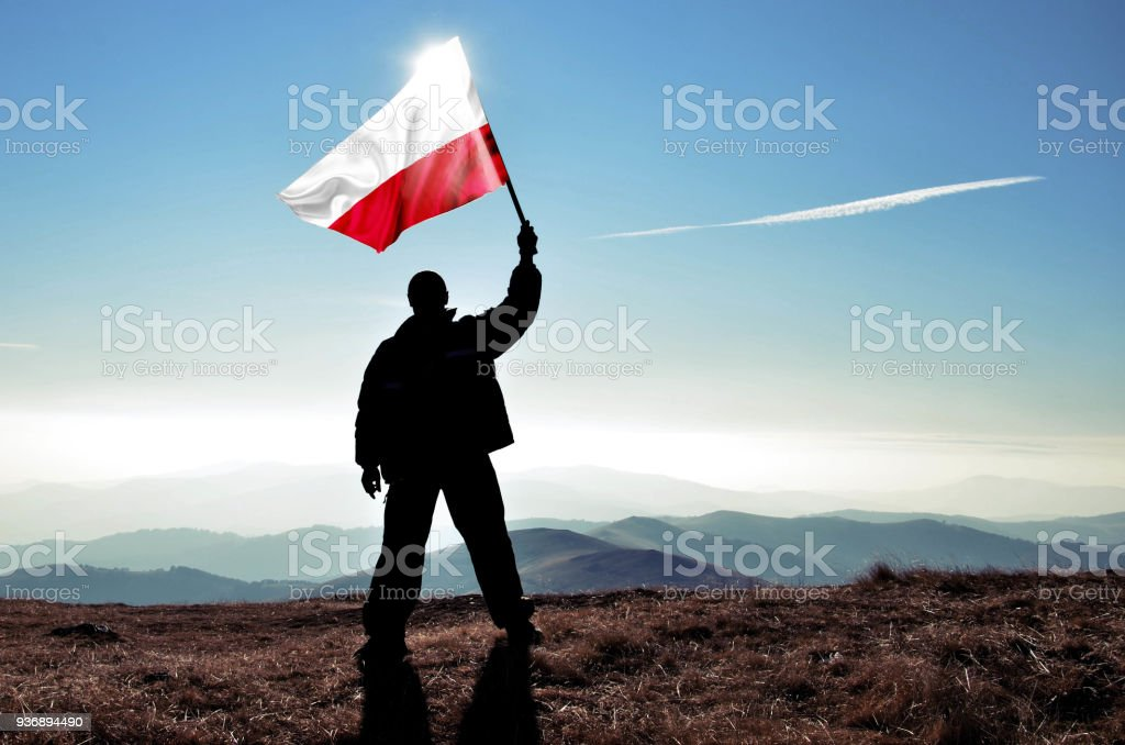 Successful silhouette man winner waving Poland flag on top of the mountain peak stock photo
