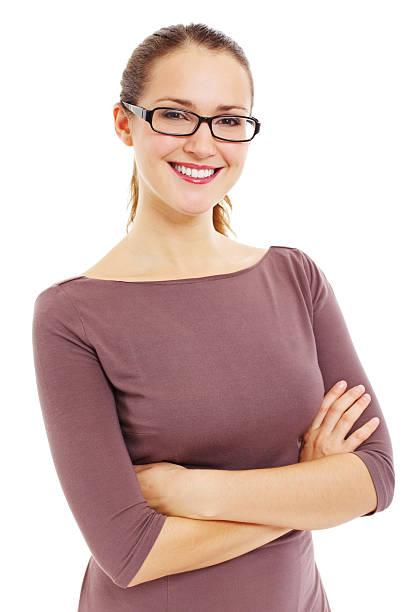 Erfolgreiche lächelnd business-Frau mit Brille – Foto