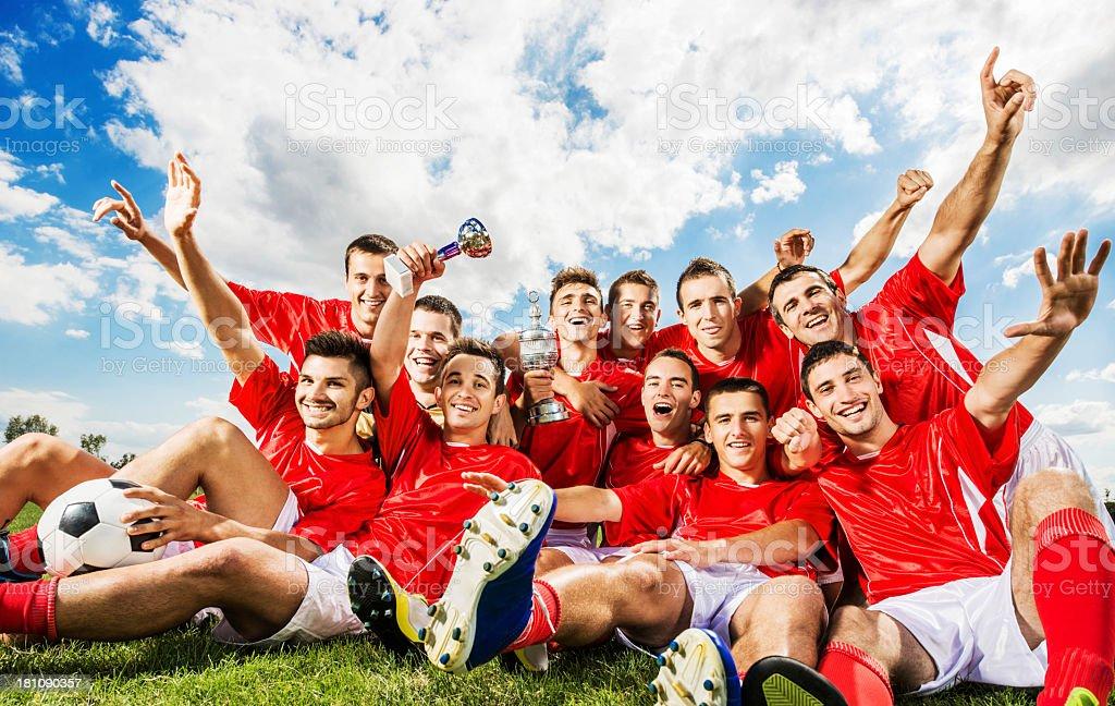Successful soccer team. stock photo