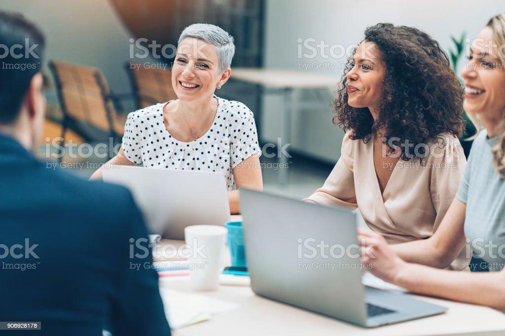 Successful team of businesswomen stock photo