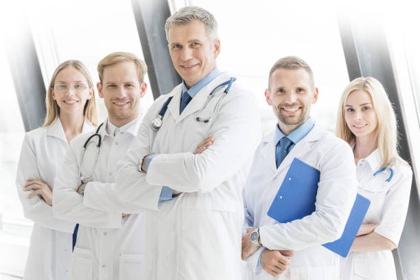 Successful team of medical doctors stock photo