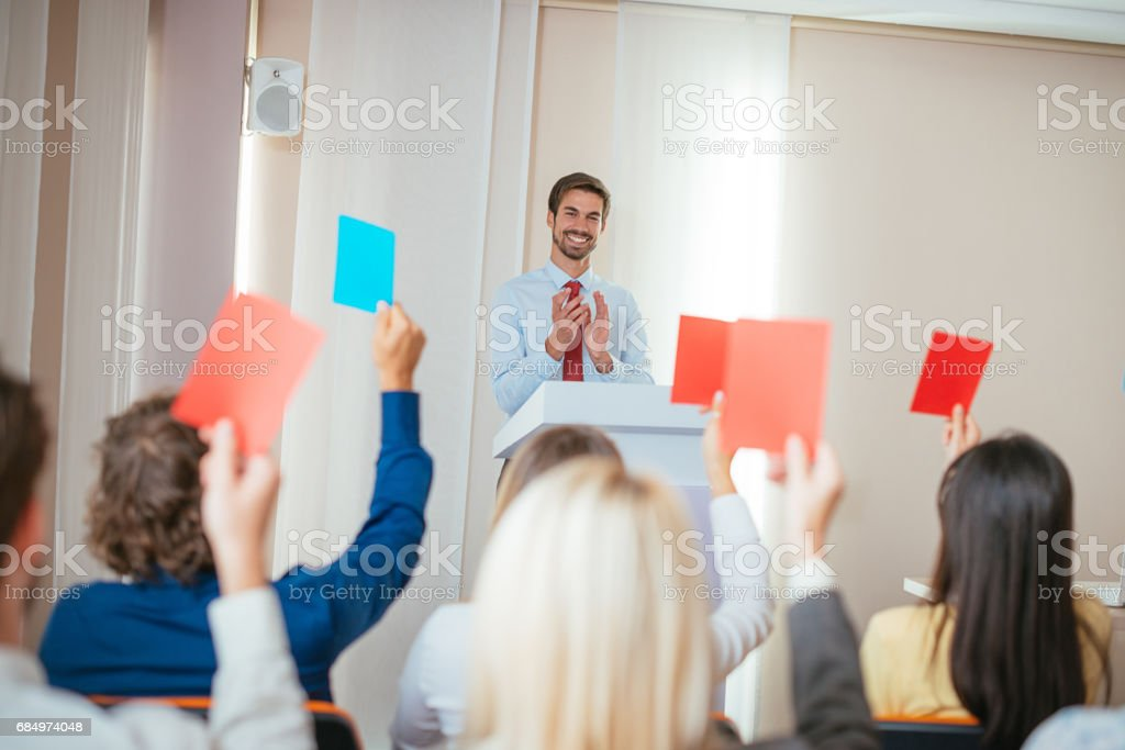 Successful voting in local assembly stock photo