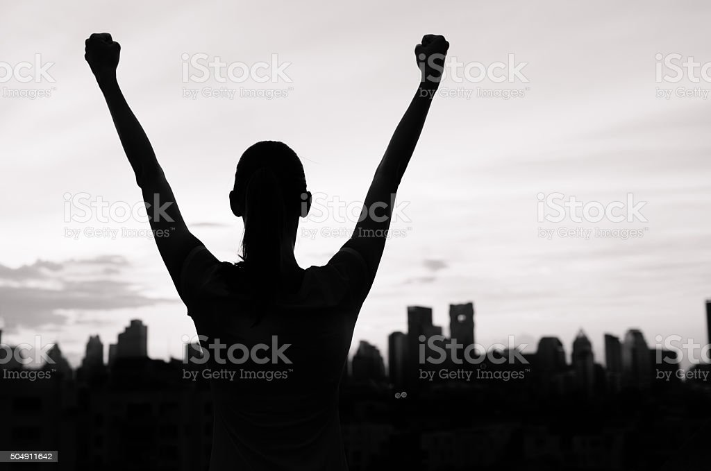 Successful woman in the city stock photo