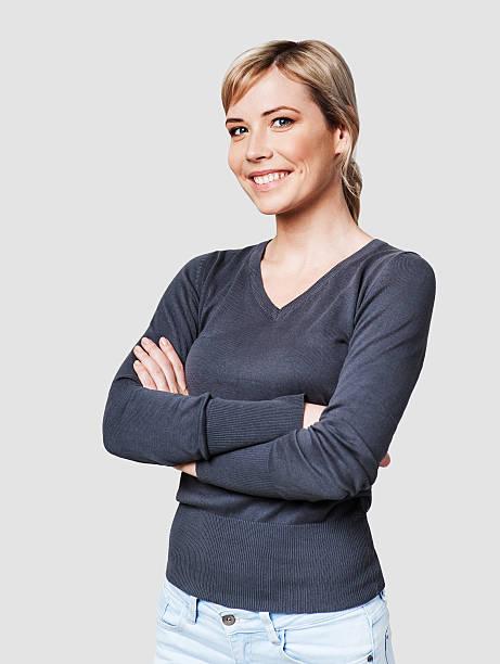 Successful woman studio shot - foto stock