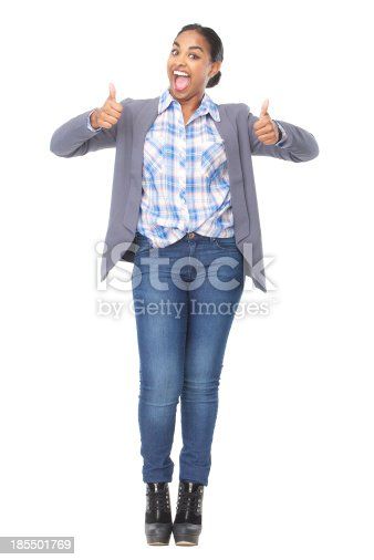 166407266istockphoto Successful woman with thumbs up gesture 185501769