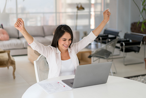 Successful Woman Working Online At Home Stock Photo