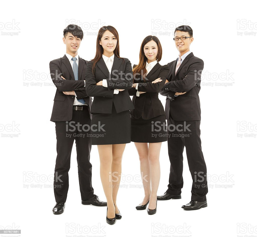 successful young business team standing together stock photo