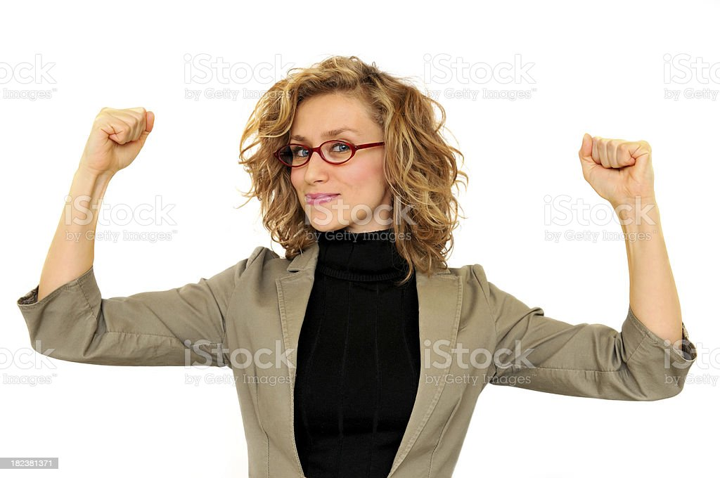 Successful young business woman rising hands royalty-free stock photo