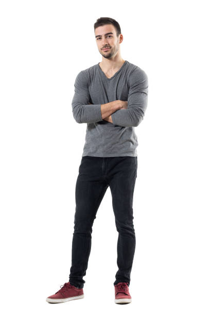 Successful young handsome casual man with crossed arms smiling. – Foto