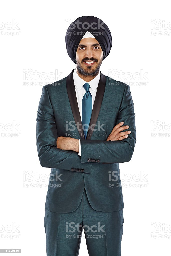 Successful young Indian man in turban stock photo