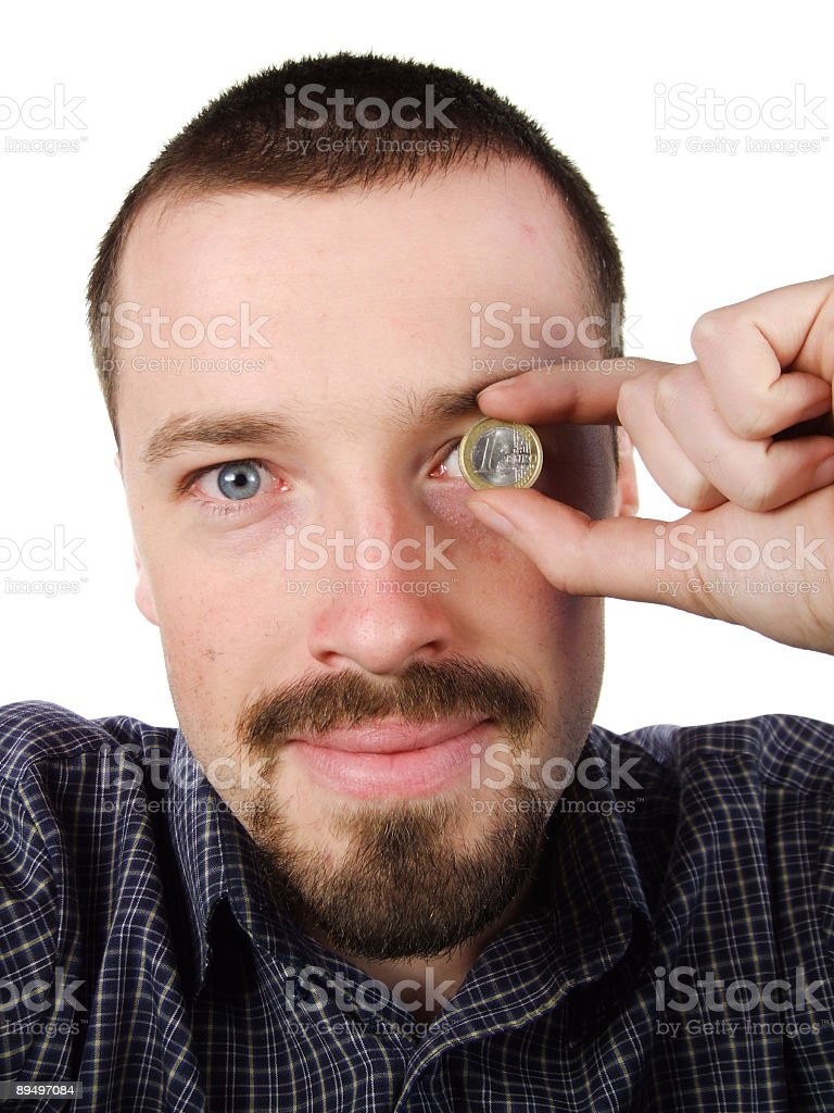 Successful young man - earned euro currency royalty free stockfoto