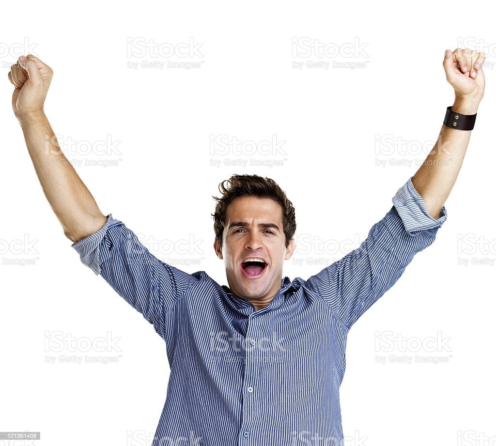 Successful young man with his hands raised royalty-free stock photo