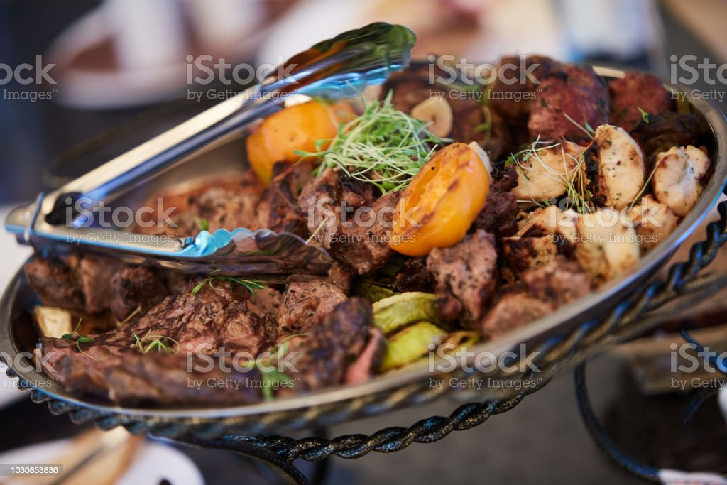 Succulent portions of grilled fillet mignon served stock photo
