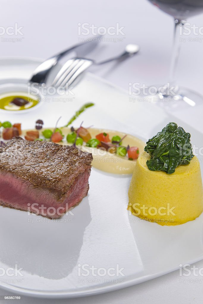 succulent steak served with condiments royalty-free stock photo