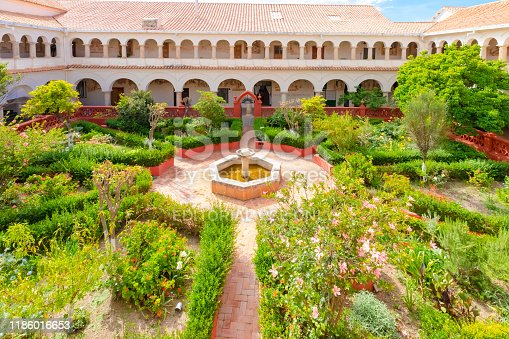 Sucre Bolivia October  17 Cloister and garden of Santa Clara monastery built in 1590 and still inhabited by nuns, located in the historic center of the city. October 17, 2019