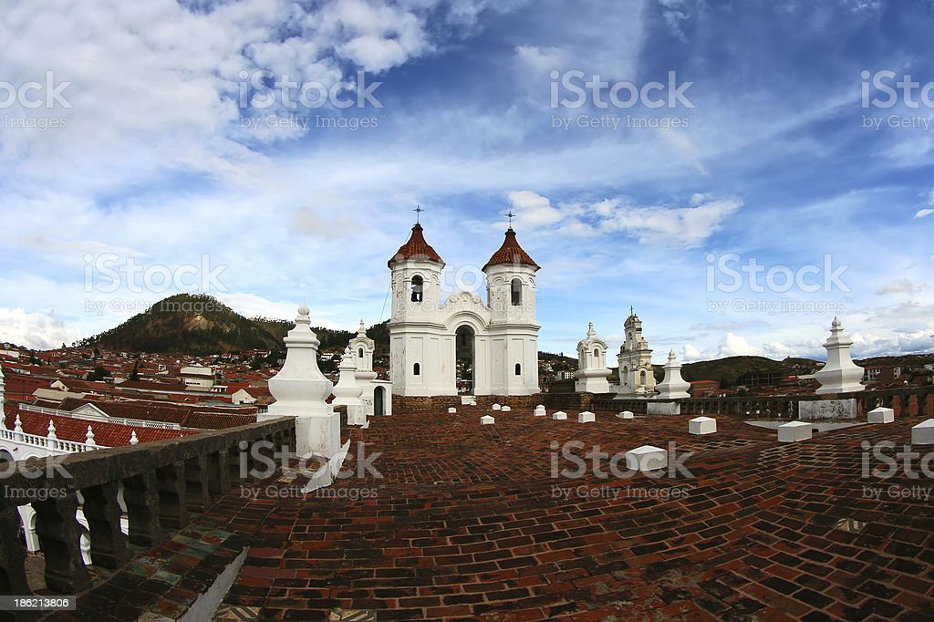 Sucre City roofs cityscape stock photo