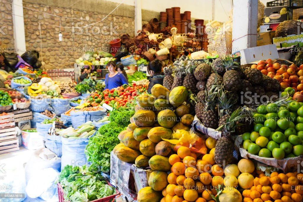 Sucre traditional market, Bolivia. stock photo