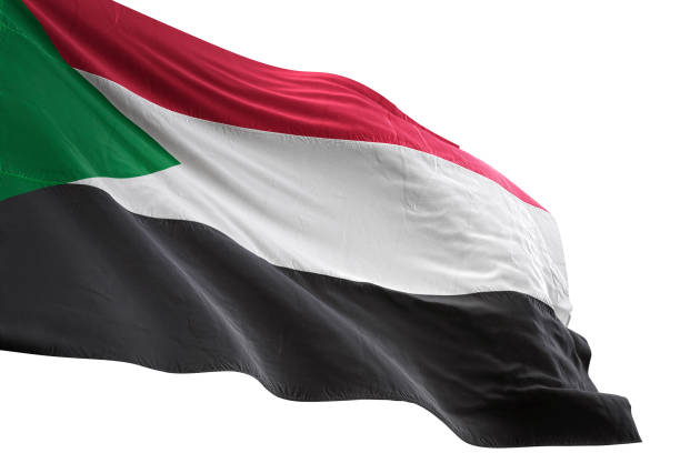 sudan flag close-up waving isolated white background - sudan stock photos and pictures