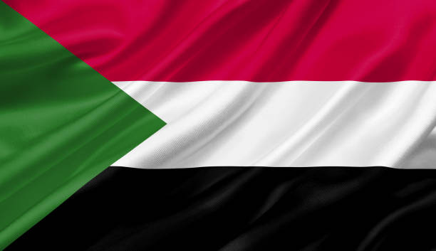 sudan flag waving with the wind, 3d illustration. - sudan stock photos and pictures