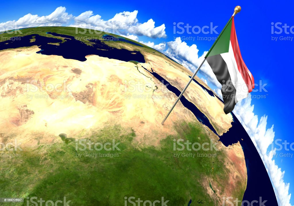 Sudan National Flag Marking The Country Location On World ...