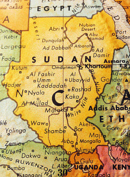 sudan on the map - sudan stock photos and pictures