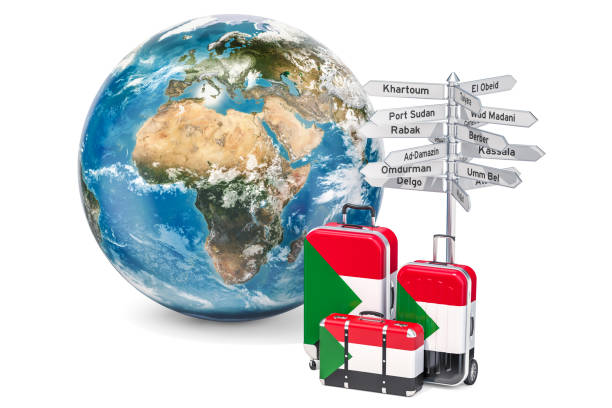 Sudan travel concept. Suitcases with Sudanese flag, signpost and Earth globe. Sudan travel concept. Suitcases with Sudanese flag, signpost and Earth globe. The source of the map - https://svs.gsfc.nasa.gov/3615 omdurman stock pictures, royalty-free photos & images
