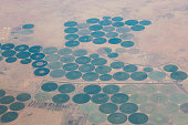 An aerial view of Sudanese agriculture and irrigation systems