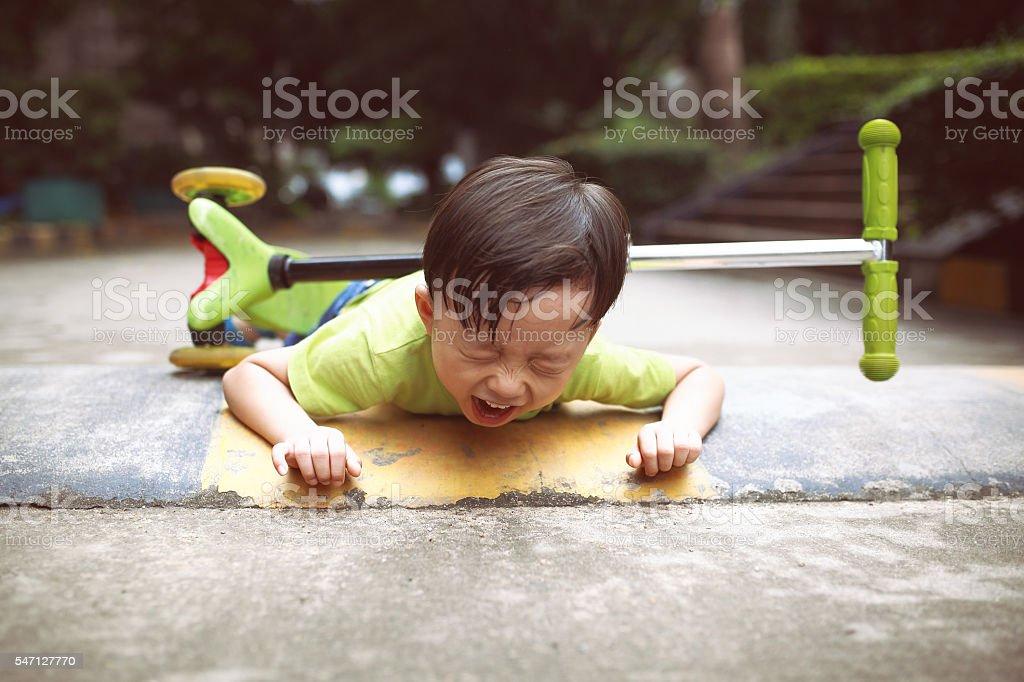 sudden braking tumbled him down stock photo